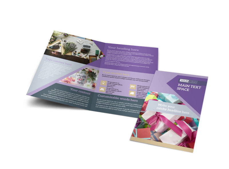 Gift Shop Bi-Fold Brochure Template