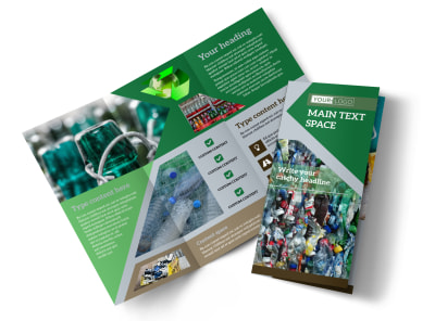 Litter & Recycling Center Tri-Fold Brochure Template preview