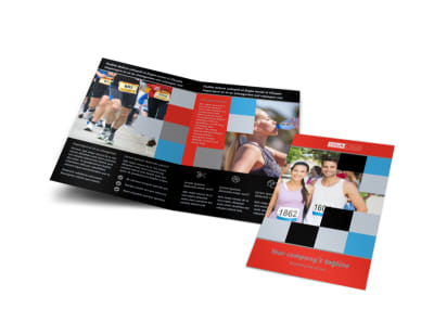 Marathon Race Fundraiser Bi-Fold Brochure Template preview