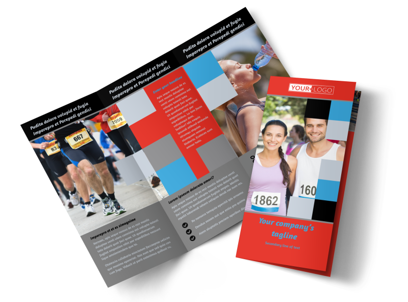 Marathon Race Fundraiser Brochure Template Preview 1