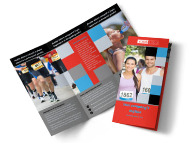 Marathon Race Fundraiser Tri-Fold Brochure Template preview