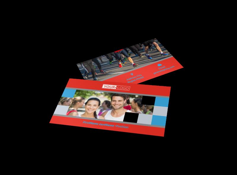 Marathon Race Fundraiser Business Card Template Preview 1