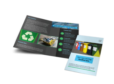 Waste Disposal Bi-Fold Brochure Template preview
