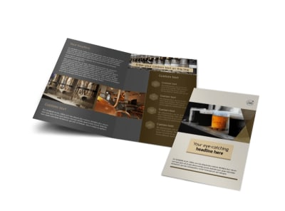 Local Brewery Bi-Fold Brochure Template