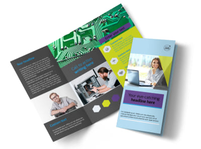 Computer Services & Consulting Tri Fold Brochure Template preview
