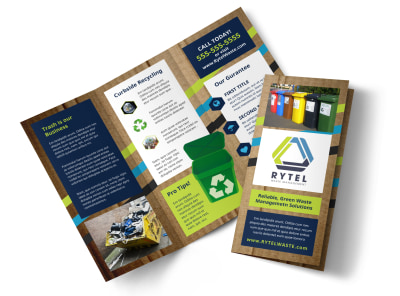 Waste Disposal Tri-Fold Brochure Template preview