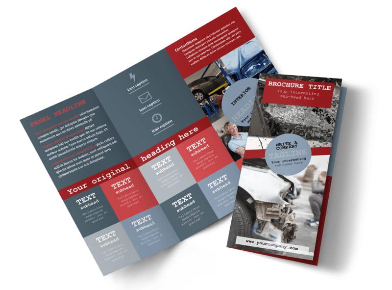 Collision Repair Tri-Fold Brochure Template