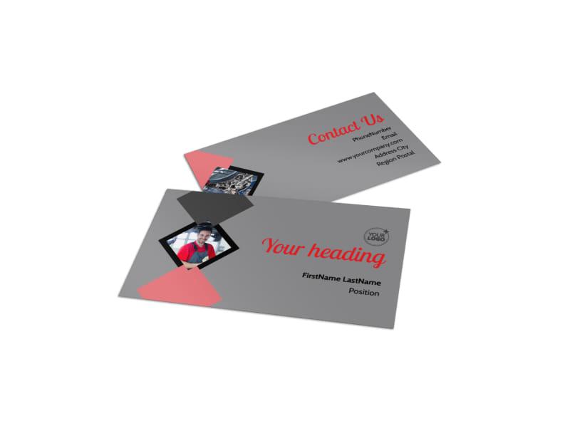 Auto Tech School Business Card Template