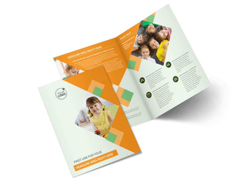 Preschool Kids & Day Care Bi-Fold Brochure Template 2