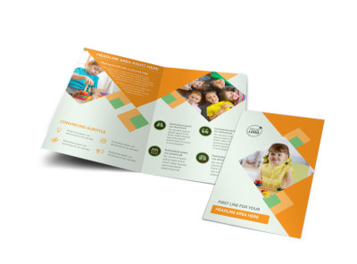Preschool Kids & Day Care Bi-Fold Brochure Template