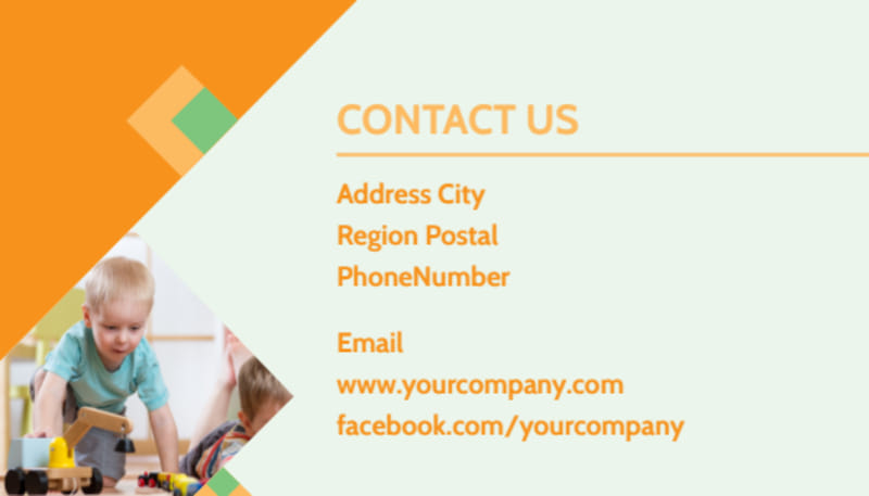 Early Years Day Care Business Card Template Preview 3