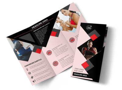 Boxing Gym Tri-Fold Brochure Template preview