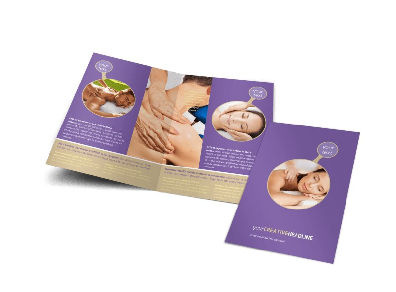 Massage therapy bi fold brochure template for Massage therapy brochure templates