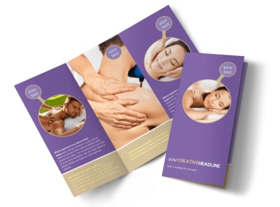 Massage Therapy Tri-Fold Brochure Template preview