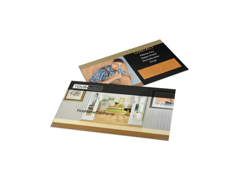 hardwood floor installation business card template - Flooring Business Cards