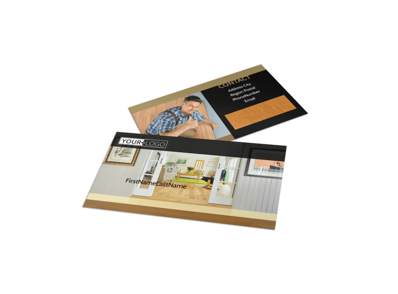 Hardwood Floor Installation Business Card Template Preview 1