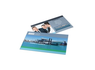 Marine Insurance Business Card Template preview