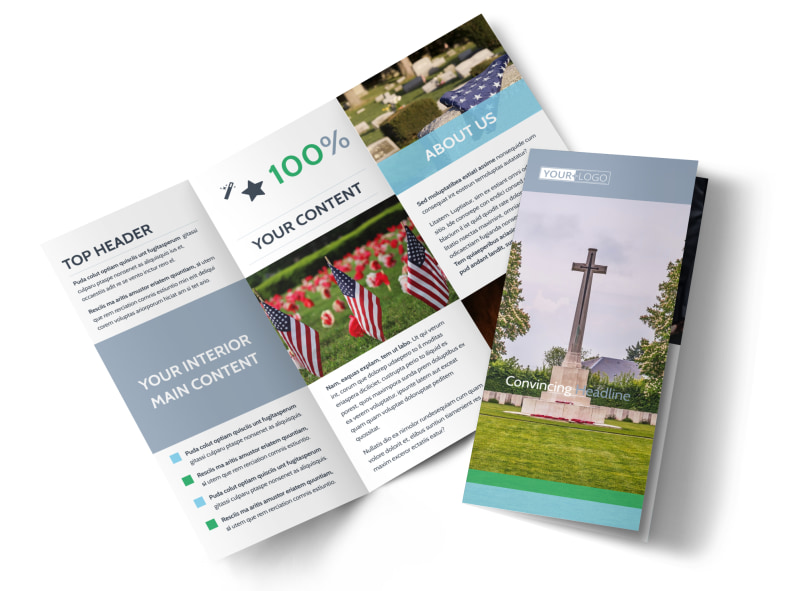 Memorial Funeral Services Brochure Template MyCreativeShop - Brochures template