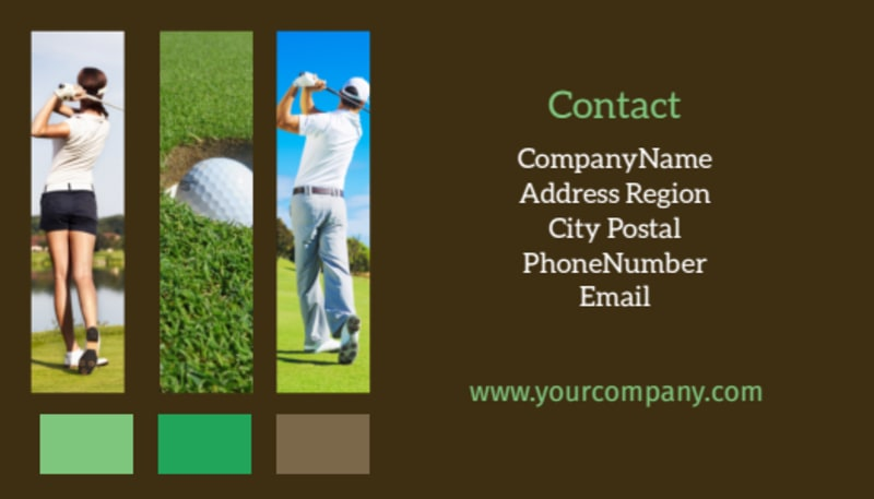 Golf Tournament Business Card Template Preview 3