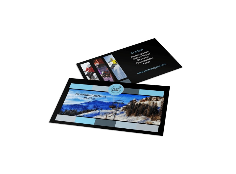 Top Ski Resort Business Card Template Preview 4