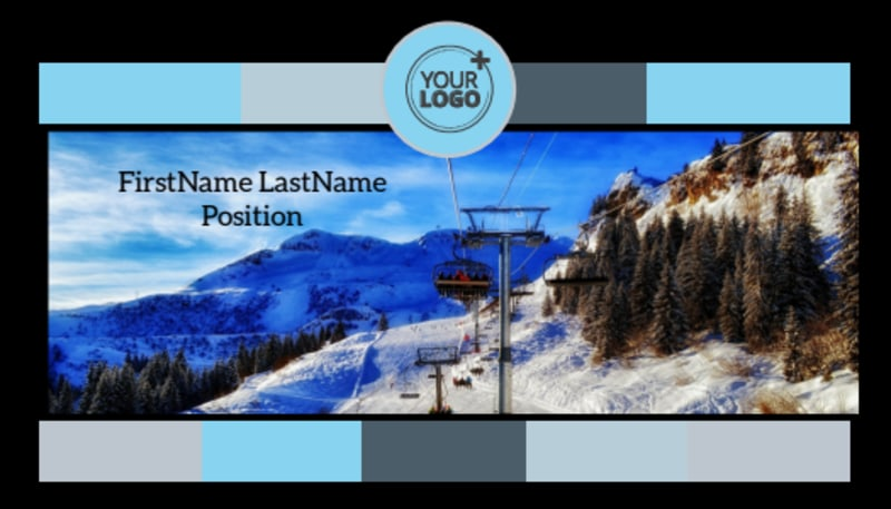 Top Ski Resort Business Card Template Preview 2
