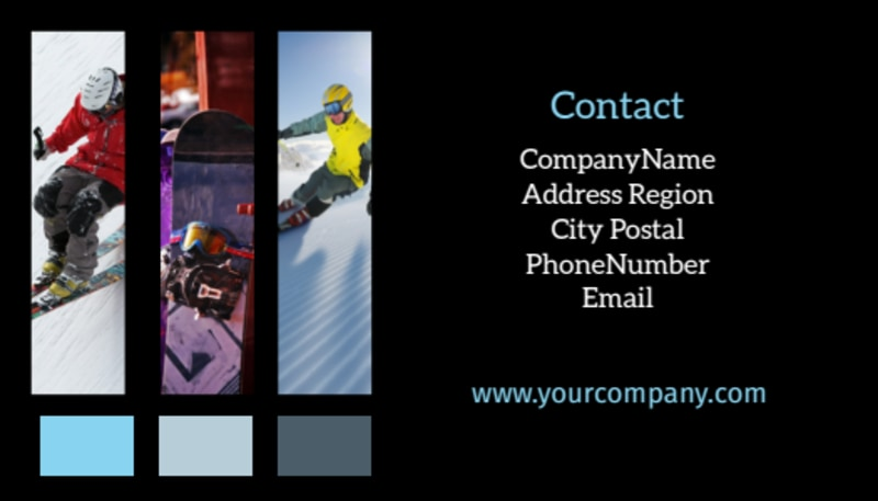 Top Ski Resort Business Card Template Preview 3