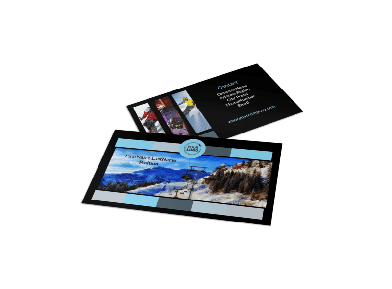 Top Ski Resort Business Card Template Preview 1