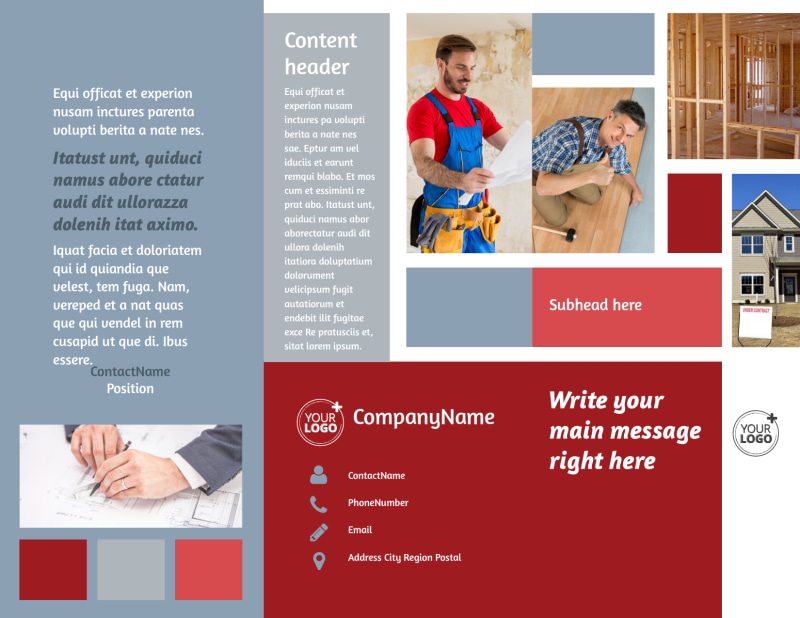 Remodeling Contractor Brochure Template Preview 2