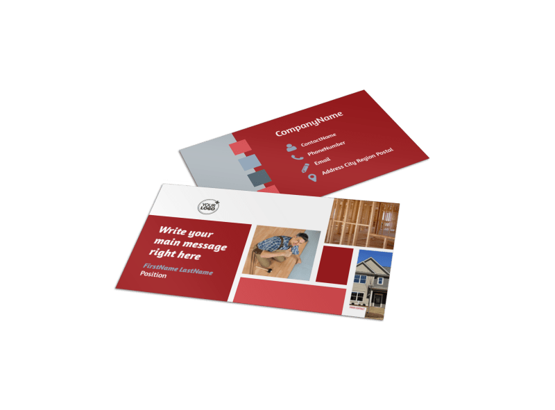 Remodeling Contractor Business Card Template Preview 1