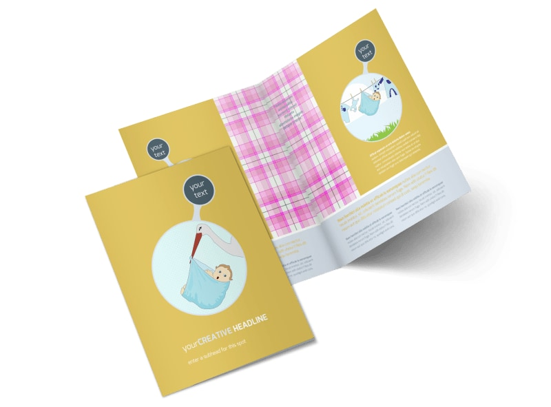 Baby Shower Bi-Fold Brochure Template 2