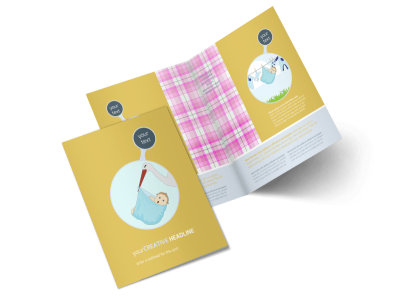 Baby Shower Bi-Fold Brochure Template 2