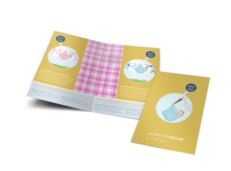 Baby Shower Bi-Fold Brochure Template