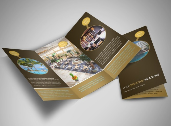 Luxury hotel tri fold brochure template for Hotel brochure design templates