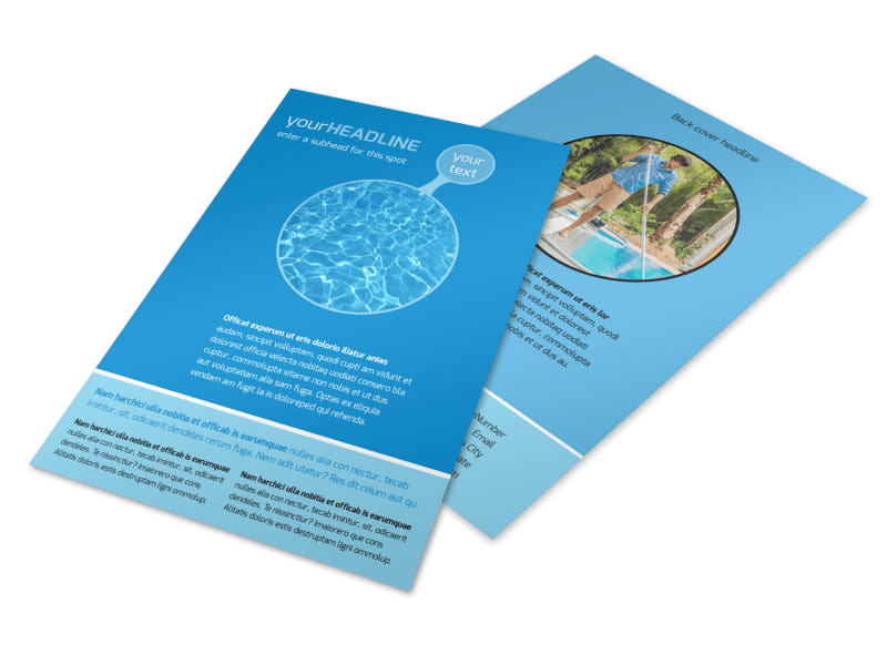 Residential Pool Cleaning Flyer Template 3