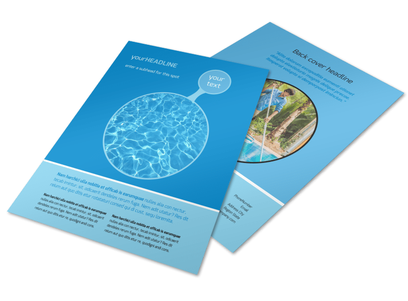 Residential Pool Cleaning Flyer Template Preview 1