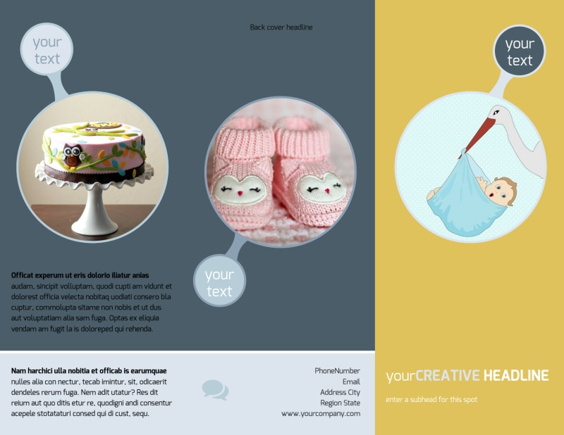 Baby Shower Brochure Template Preview 2