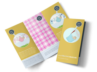 Baby Shower Tri-Fold Brochure Template