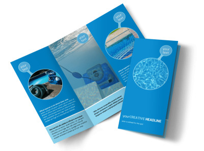 Residential Pool Cleaning Tri-Fold Brochure Template preview