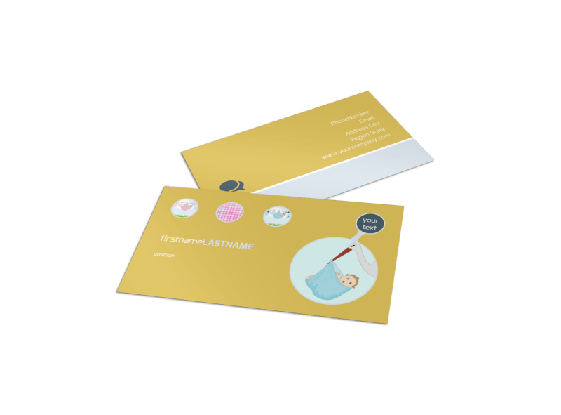Baby Shower Business Card Template Preview 1