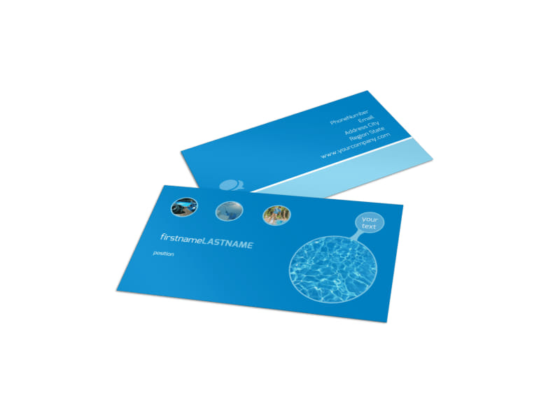 Residential Pool Cleaning Business Card Template