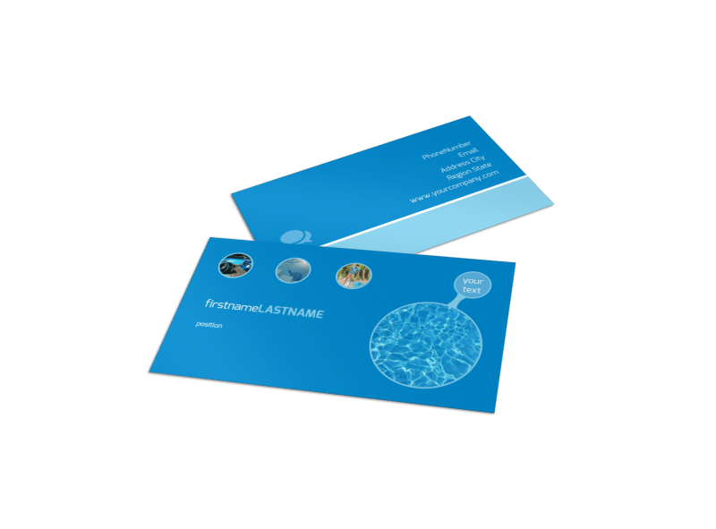 Residential Pool Cleaning Business Card Template Preview 1