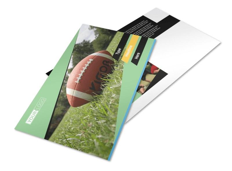 Football Sports Camp Postcard Template