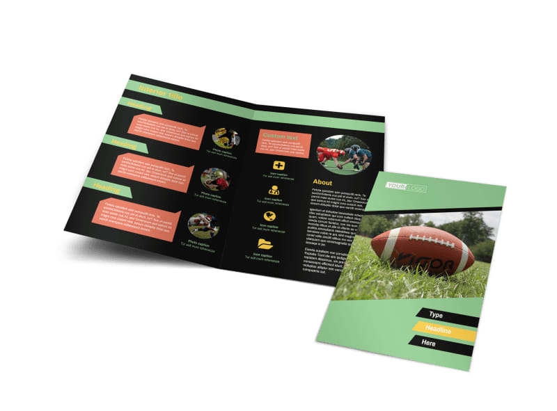 Football Sports Camp Bi-Fold Brochure Template