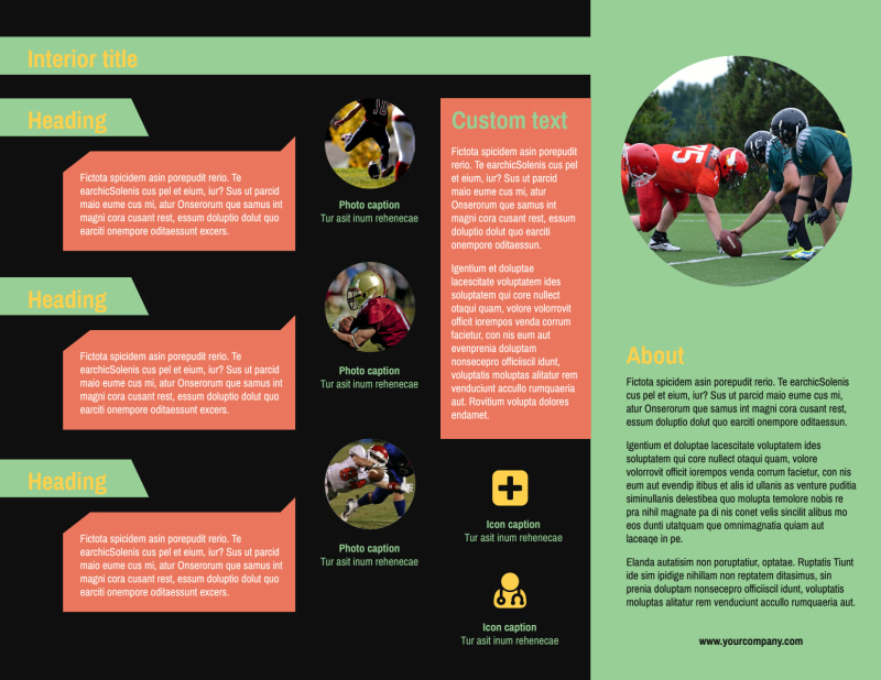 Football Camp Brochure Template Preview 3