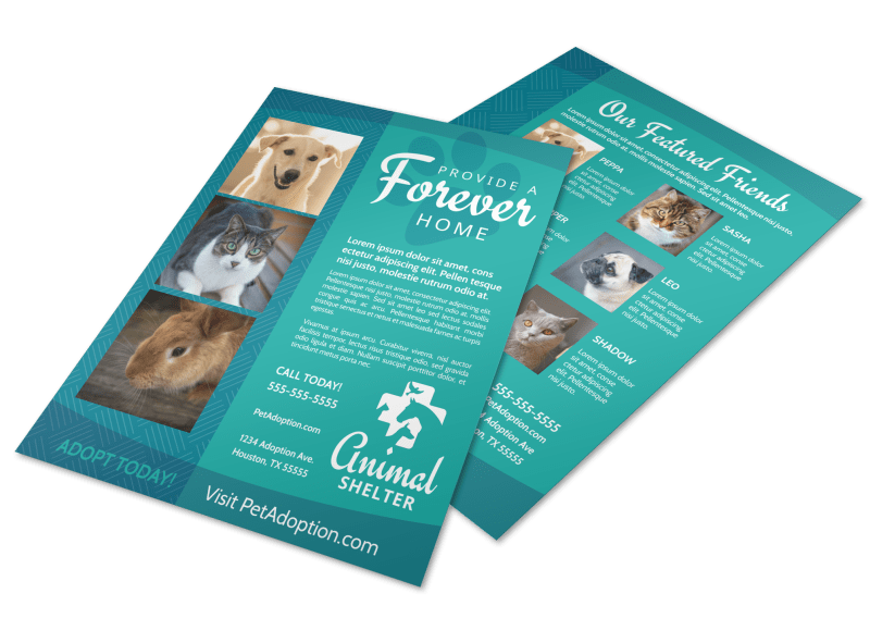 Animal Shelter & Pet Adoption Flyer Template Preview 1