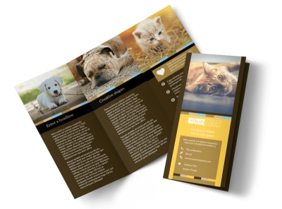 Animal Shelter & Pet Adoption Tri-Fold Brochure Template preview