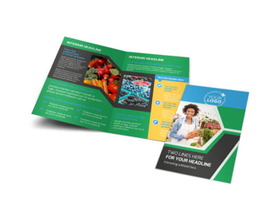 Fresh Farmers Market Bi-Fold Brochure Template preview