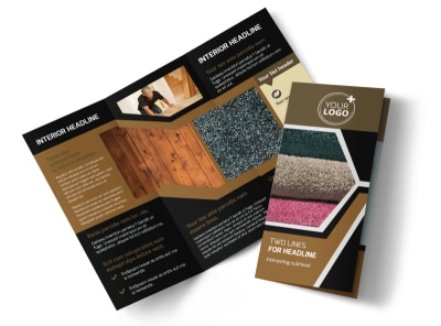 Carpet & Hardwood Flooring Tri-Fold Brochure Template preview