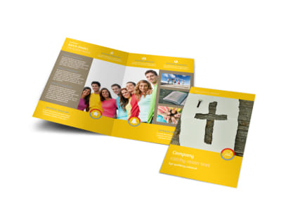 Church Ministry & Youth Group Bi-Fold Brochure Template preview
