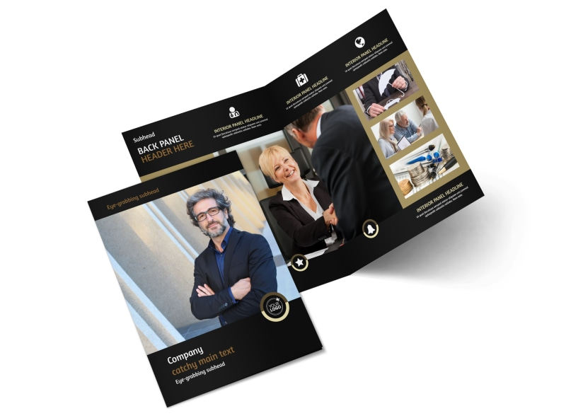 law firm brochure template - insurance defense law firm bi fold brochure template